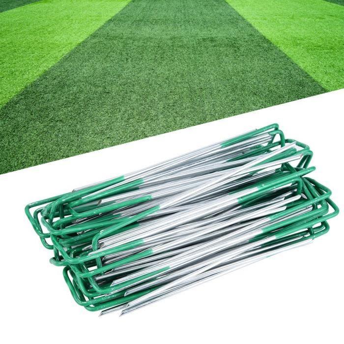 CREPUSCULE®Garden U Pins,100pcs demi-vert gazon artificiel en acier U Pins jardin métal chevilles mauvaises herbes