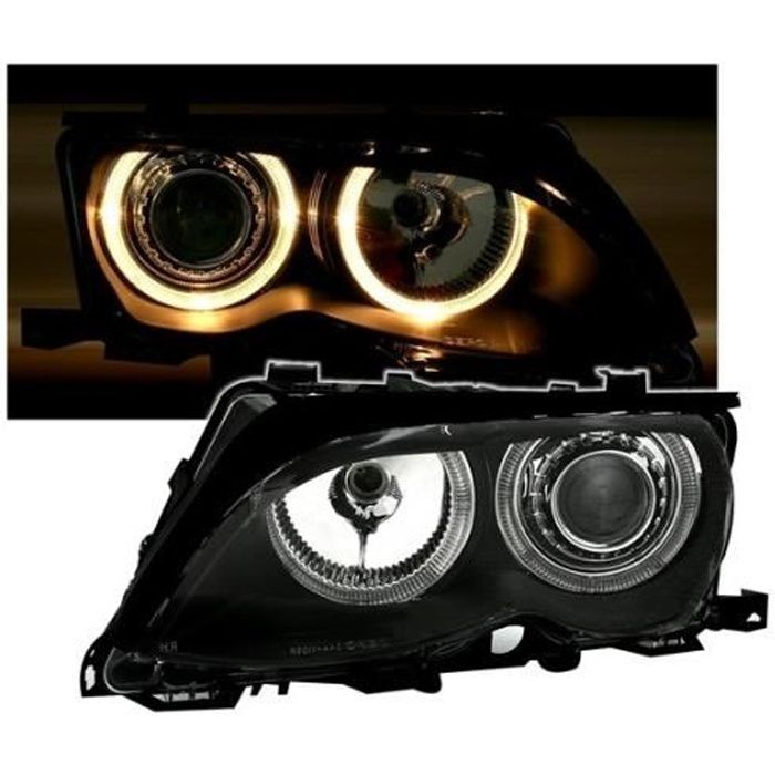 2 FEUX PHARE AVANT ANGEL EYES POUR BMW SERIE 3 E46 BERLINE PHASE 2 RESTYLEE DE 10/2001 A 03/2005