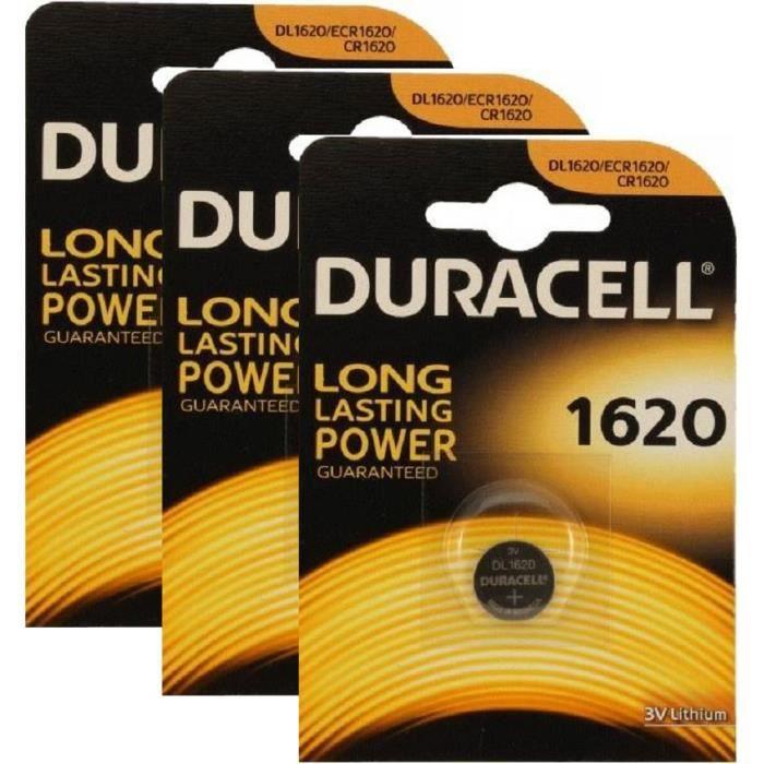 Piles bouton lithium CR1620 DL1620 3V DURACELL