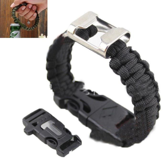 paracord bracelet silex engrenage allume-feu racleur de sifflet décapsuleur survie