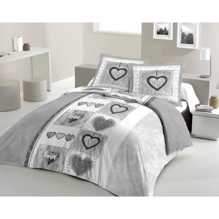LOVELY HOME Parure de couette Coton SWEET HEART Gris 200x200cm