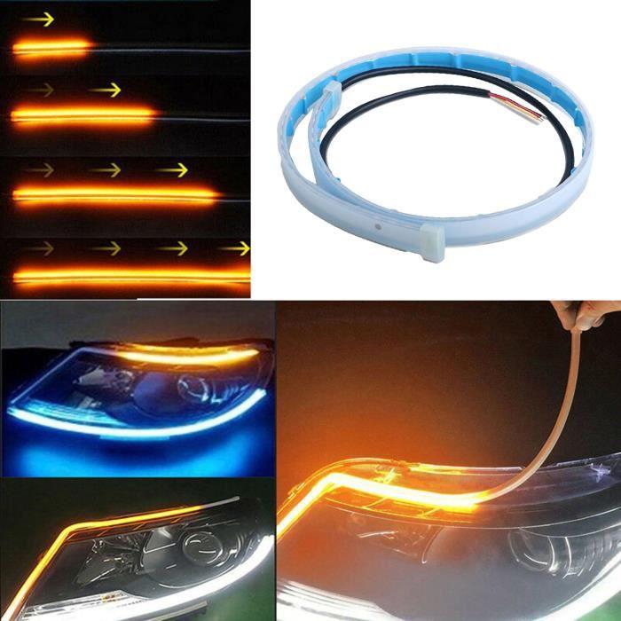 Tubes Lumineux Bande LED pour Voiture 2 Pièces, 2PCS décoration de voiture banderole bicolore clignotant blanc et jaune - 60cm
