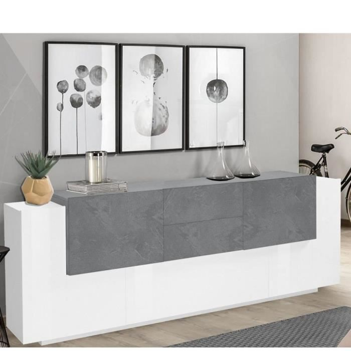 Buffet design Bi-color CORO 220 cm Finition blanc laqué brillant-gris ardoise blanc MDF Inside75