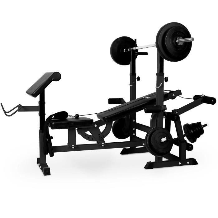 Klarfit KS02 Station de musculation avec banc pour entraînement des jambes - Porte-haltères et curler inclus - Montage facile