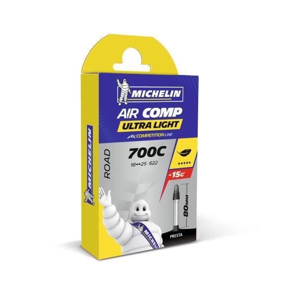 MICHELIN - Chambre à air type A1 modèle AIRCOMP ULTRALIGHT dimensions 700 18/23 valve presta 40mm