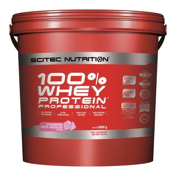 100% Whey Professional 5kg FRAISE CHOCO BLANC Scitec 5000g Proteines Musculation Fitness