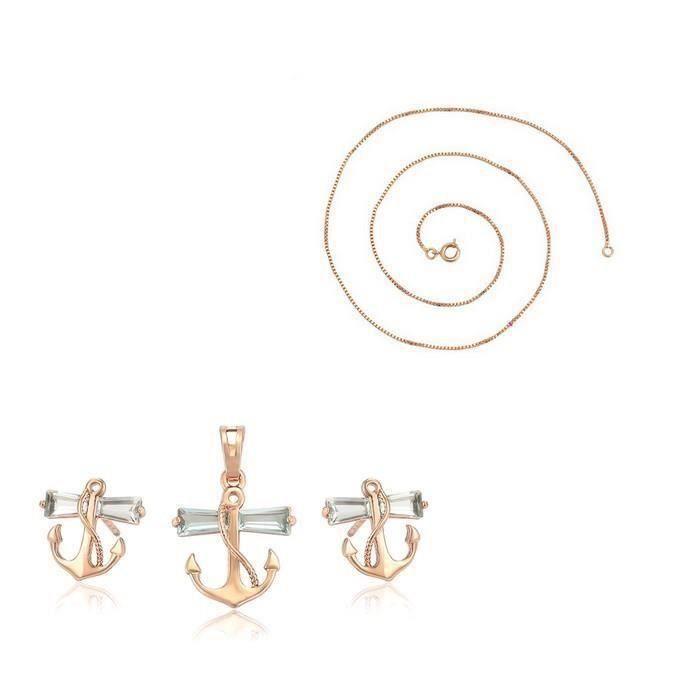 Parure Bijoux Fleur Bague 54 Cristal Swarovski Elements Plaqué Or Rose 750