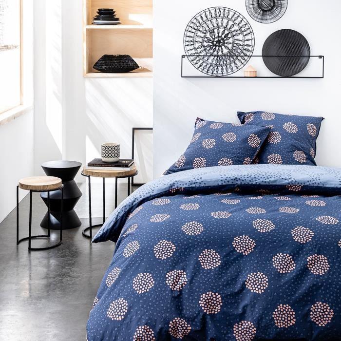 TODAY Parure de couette 100 % Coton 220x240cm SUNSHINE #3.36 - Bleu et rose