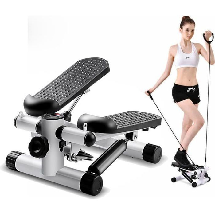Mini Stepper Marcheur Machine Jambe Fitness Entraînement Musculaire Exercise avec Bandes de Résistance - Affichage - Blanc VINTEKY®