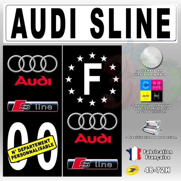 stickers plaque d 39 immatriculation 39 audi sline 39 auto moto. Black Bedroom Furniture Sets. Home Design Ideas