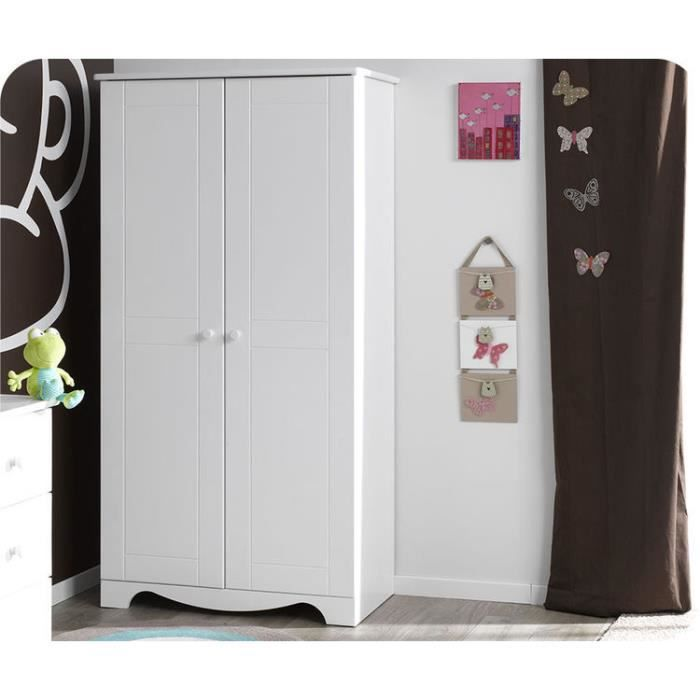 Eb armoire b b nature blanche achat vente armoire for Armoire bebe blanche