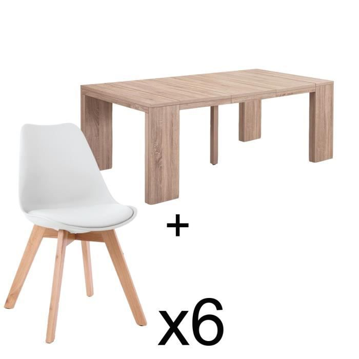 Table extensible chêne clair + 6 chaises Catherina Blanc