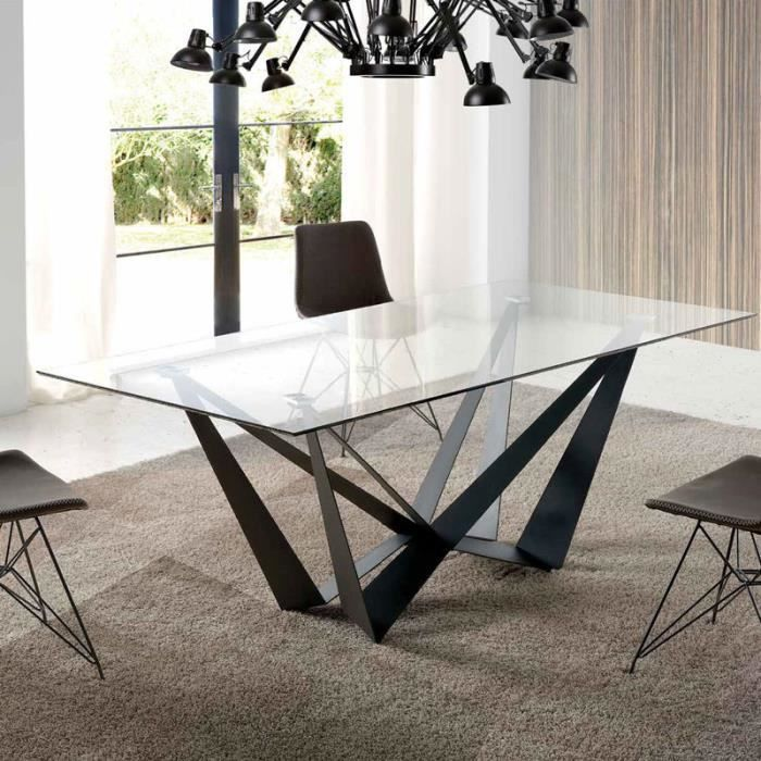 Table En Verre Design Metal Noir Eros