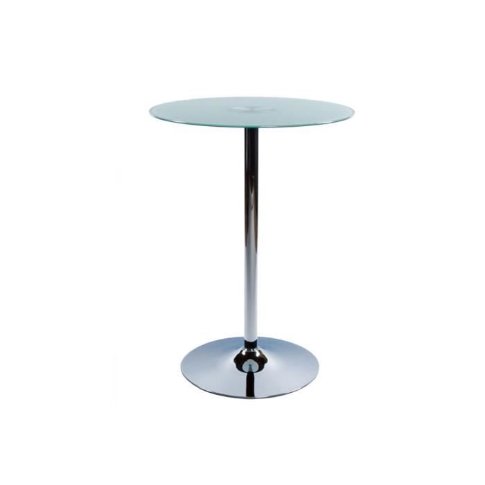 Table de bar plateau en verre blanc trian achat vente mange debout table - Table de bar en verre ...