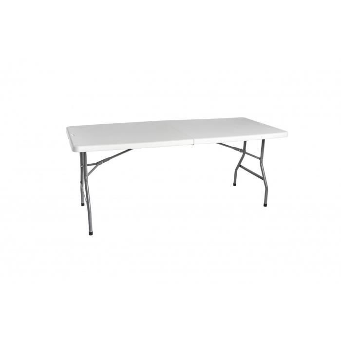 Table Salon Jardin Pliable En Plastique Blanc Achat Vente Salon De Jardin Table Salon Jardin
