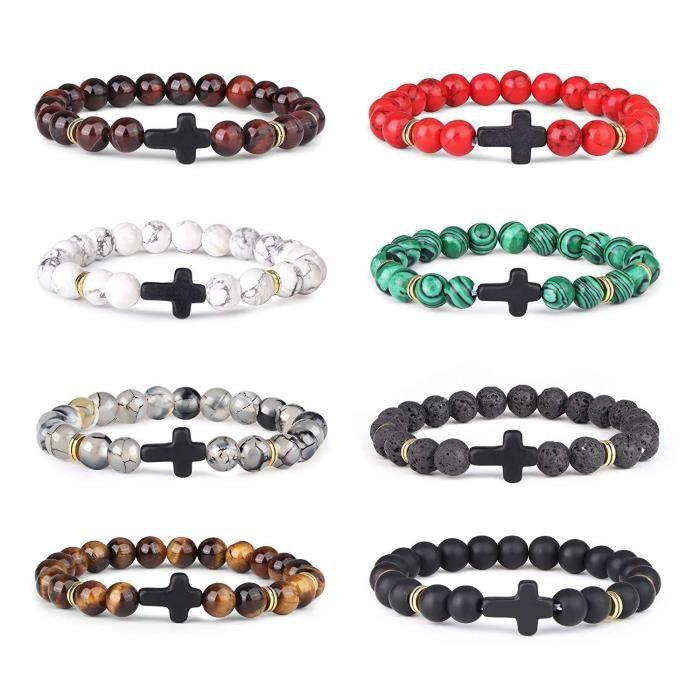 Bracelet en pierre doeil de tigre Paquet de 2 CNNIK Hommes Femmes 8mm Perles Pierre Naturelle De Yoga Aromath/érapie Huile Essentielle /Élastique Bracelet pour Le Cadeau