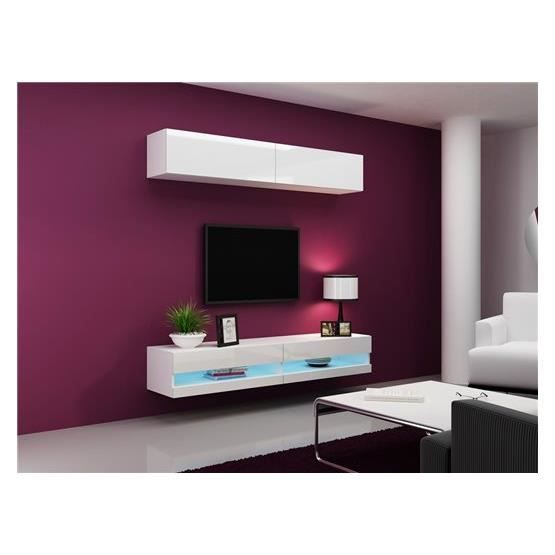 ensemble meuble tv design valor blanc achat vente. Black Bedroom Furniture Sets. Home Design Ideas