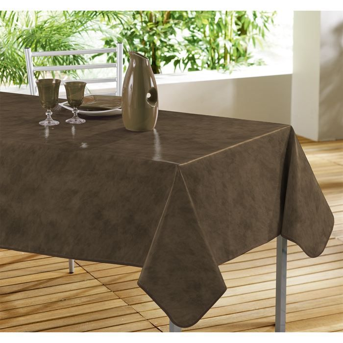 nappe toile cir e 240x140 beton cire coloris cacao achat vente nappe de table cdiscount. Black Bedroom Furniture Sets. Home Design Ideas
