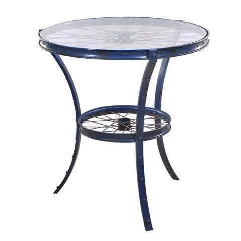 table metalique retro bleu 76 cm achat vente table de cuisine table metalique retro bleu. Black Bedroom Furniture Sets. Home Design Ideas
