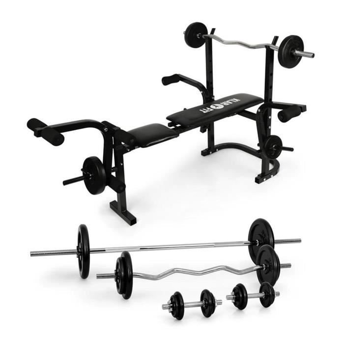 klarfit fitness banc de musculation avec set d 39 halt res prix pas cher cdiscount. Black Bedroom Furniture Sets. Home Design Ideas