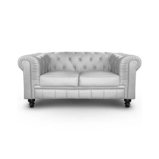 Canap chesterfield 2 places argent luxe achat vente canap sofa diva - Fauteuil chesterfield argent ...