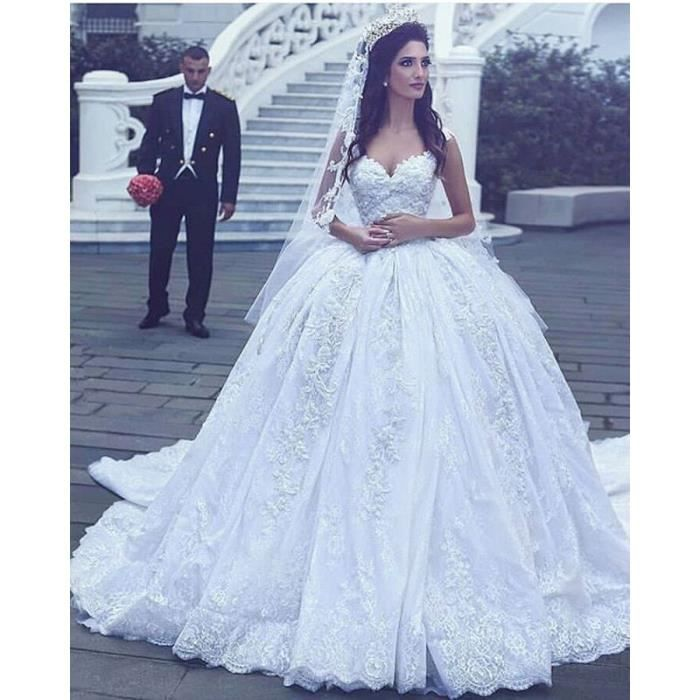 robe de mariage bal longue blanche princesse grande blanc blanc achat vente robe de. Black Bedroom Furniture Sets. Home Design Ideas