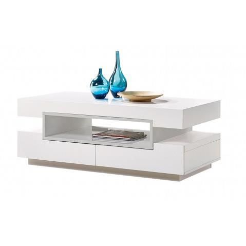 Table basse design a led blanc laque gris 2 tiroirs palace for Table basse blanc ikea