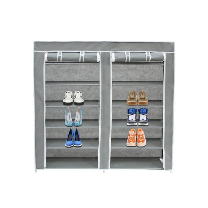 armoire chaussures en toile grise 36 paires achat. Black Bedroom Furniture Sets. Home Design Ideas