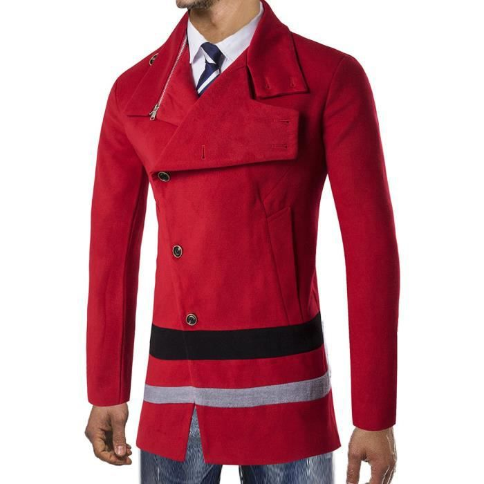 Long Rouge Veste Smart Trench Pardessus Button Chaude Outwear D'hiver FqxUtqO