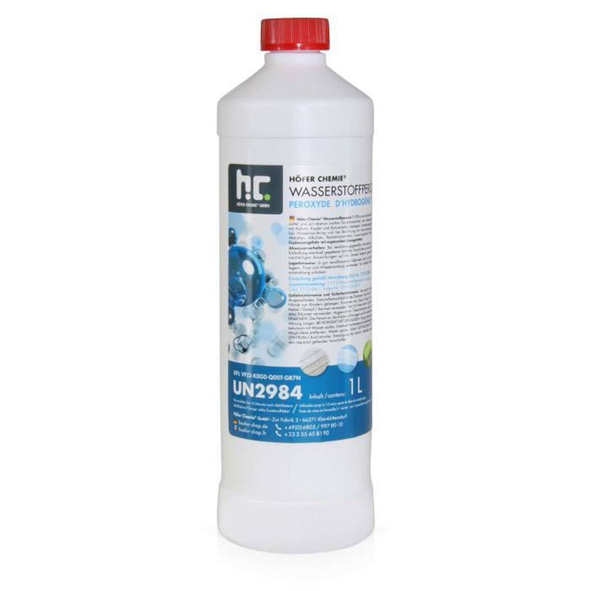 6 x 1 l p roxyde d 39 hydrog ne 11 9 achat vente for Peroxyde d hydrogene piscine