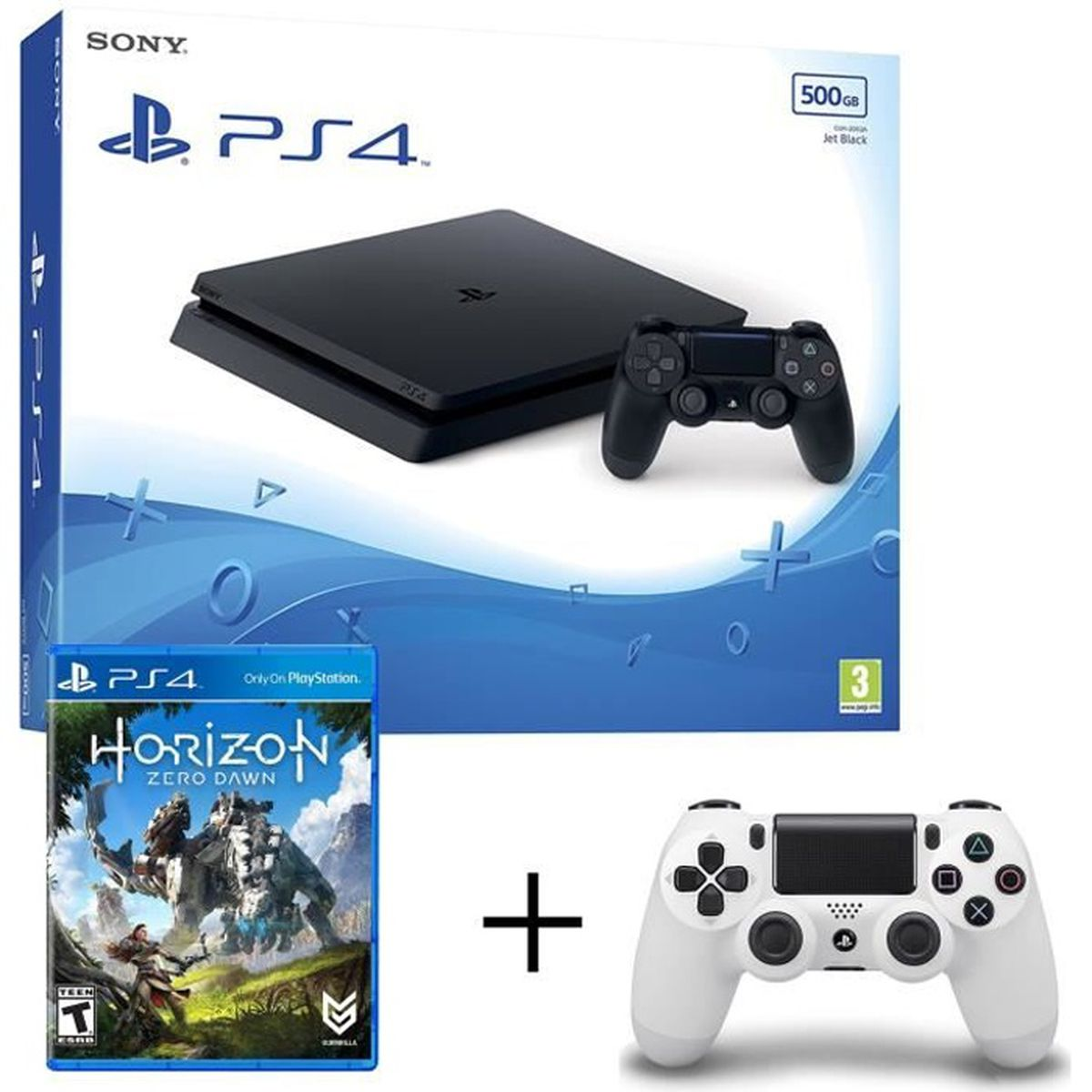ps4 slim 500go manette blanche offert horizon zero achat vente console ps4 ps4 slim. Black Bedroom Furniture Sets. Home Design Ideas