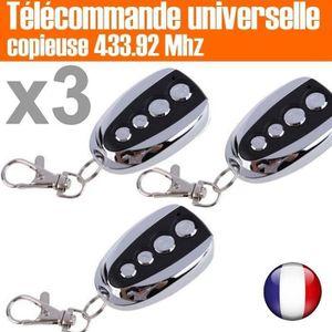 TÉLÉCOMMANDE DOMOTIQUE  Lot de 3 - Télécommande Universelle Copieuse (433.