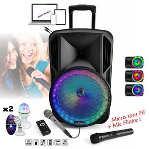 PACK SONO ENCEINTE SONO 800W PORTABLE + USB MP3 + SD + BLUET