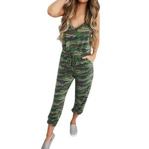 SALOPETTE Femmes Camouflage col en V manches longues Salopet