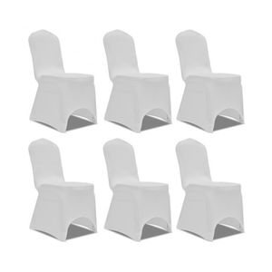 CHAISE Superbe Housse blanche extensible pour chaise 6 pi