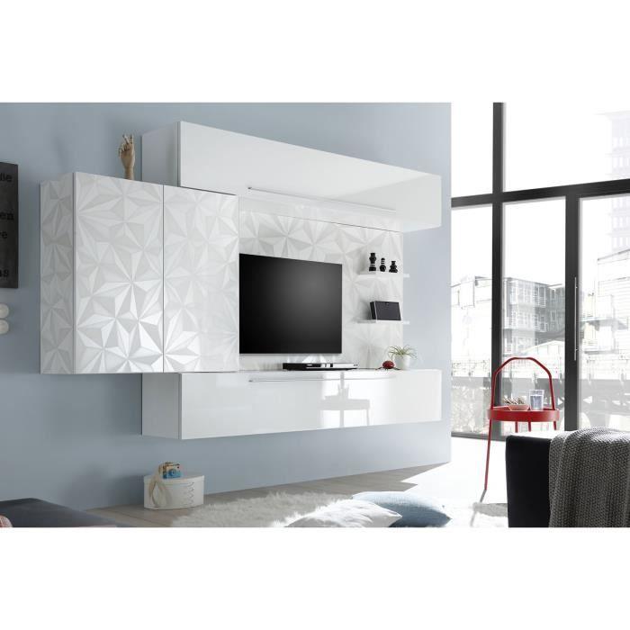 LUDOVICA 56 LAQUE BLANC ENSEMBLE COMPOSITION MURALE MEUBLE TV TENDANCE