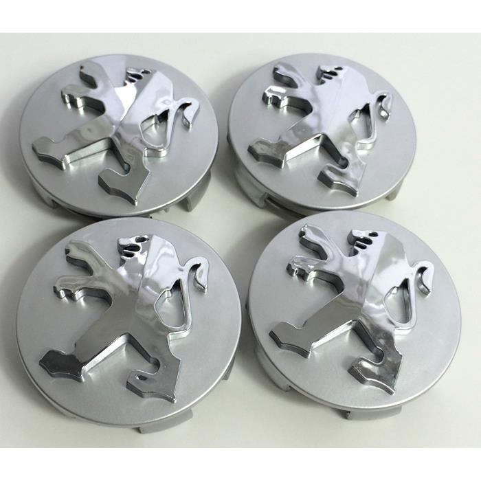 X4 Peugeot 60 mm de haute qualité en alliage de roue badge Gris Chrome Logo Emblème Centre hub caches pour Peugeot