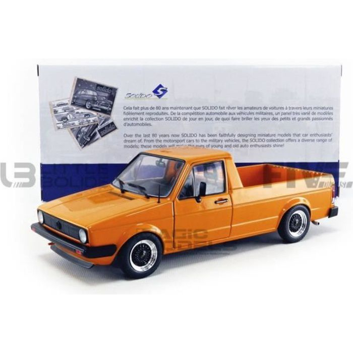 Voiture Miniature de Collection - SOLIDO 1/18 - VOLKSWAGEN Caddy MKI Custom - 1982 - Orange - 1803502
