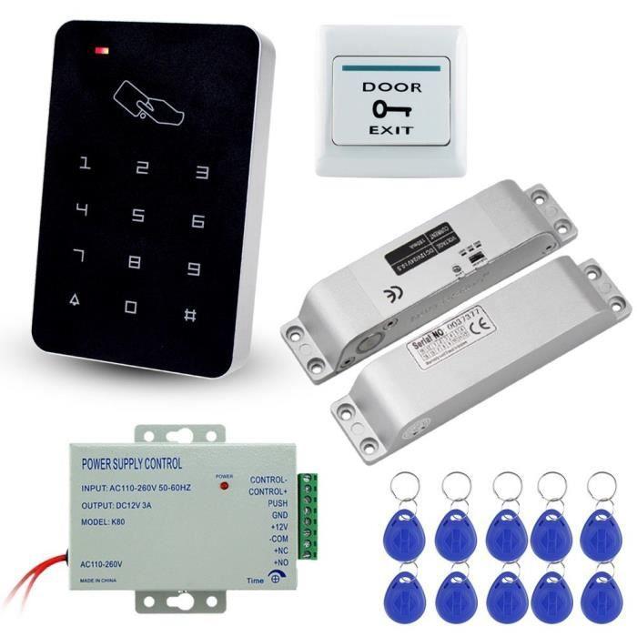LIBO Kit Complet de Clavier de contrôle d'accès RFID 125KHz avec Serrure électronique de verrou électrique de DC12V, Alimentation