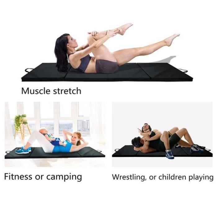 ( NOIR ) Tapis Gym Pliable & Matelas de Fitness Portable & Natte de Yoga Sport 240 x 120 x 5 cm