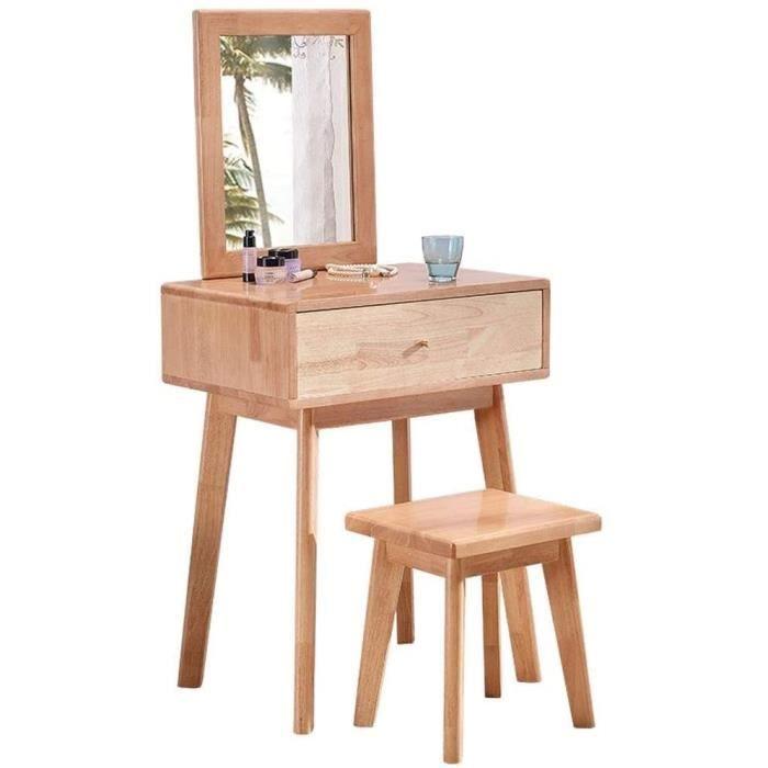LYLY Coiffeuse avec miroir, table de maquillage avec tabouret en bois massif, coiffeuse pour petit appartement, chambre à 159