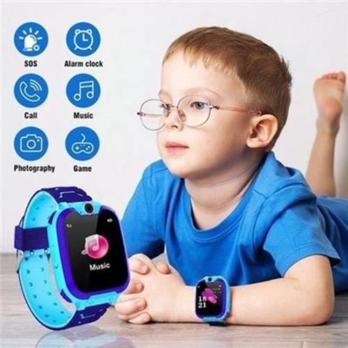 Montre Enfants Intelligente Étanche Anti-Perte de Phone WiFi+LBS Positionnement, Sécurité de SOS 4-12 Ans Cadeaux Bleu