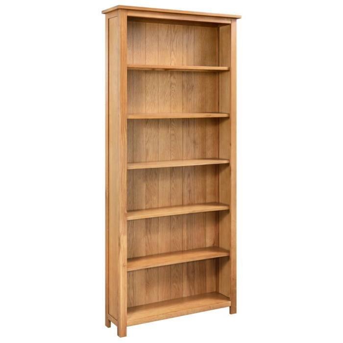 Bibliothèque à 6 étagères 80x22,5x170 cm Bois de chêne massif ✿ 11163