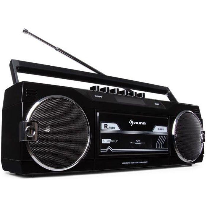 auna Duke DAB BK - Radio portable avec lecteur de cassette , tuner DAB+-FM , Bluetooth , encodage USB - SD - Noir