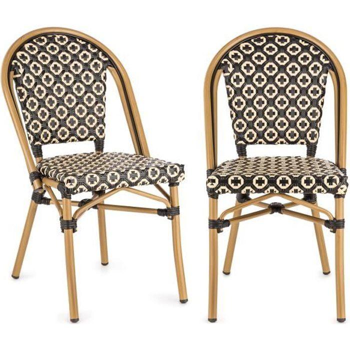 Blumfeldt Montbazin BL Lot 2 Chaises bistrot design en résine tressée - Chaise de jardin empilable - cadre aluminium - noir & crème