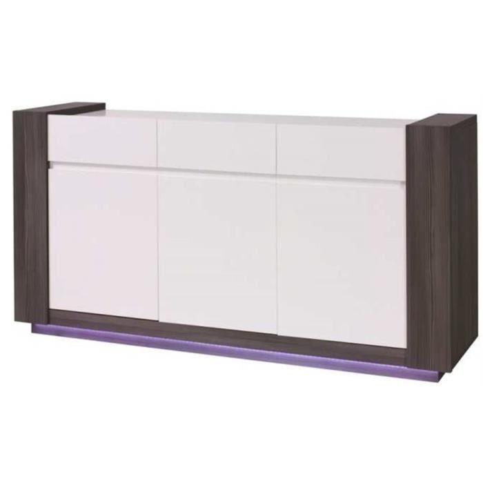 Bahut design + miroirs AUGUST - Bois et blanc - 173