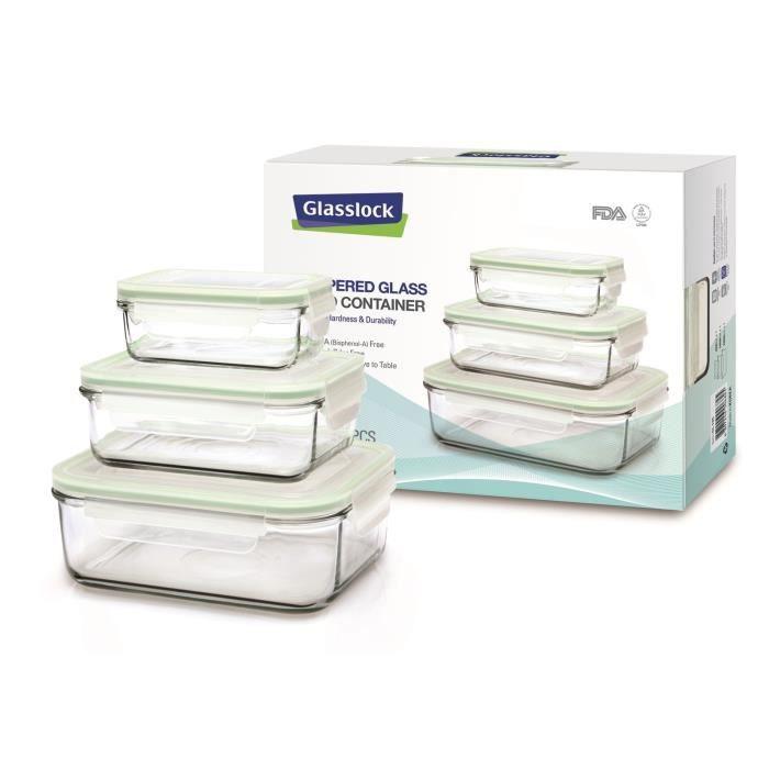 GLASSLOCK set compact 3 boîtes en verre avec couvercles, rectangulaires