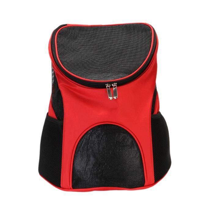 Sac à dos pour chien, sac à dos pour chien pour chats, design ventilé, sac à dos respirant pour animal de compagnie, sac rouge