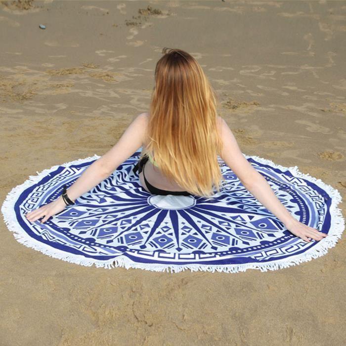 Serviette de plage Nager Été femme Diamètre Grands microfibres Imprimée rond Dessin Géométrique OriginaleTassel serviette de bain
