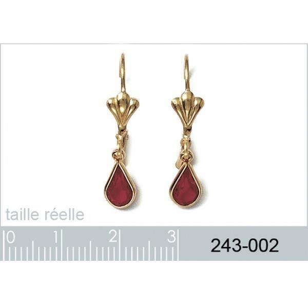 Boucles d'oreilles en plaqué or avec cristal rouge